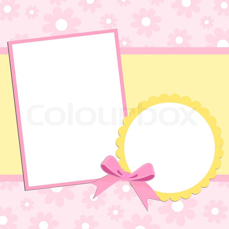 Blank Template For Greetings Card Or Photo Frame In Pink Colors