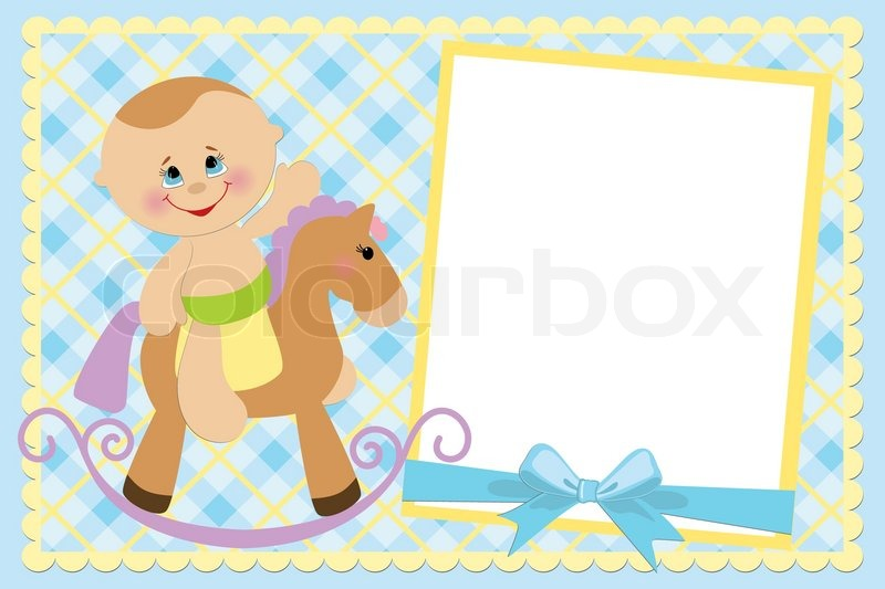 Blank template for baby\'s greetings card or photo frame in blue ...