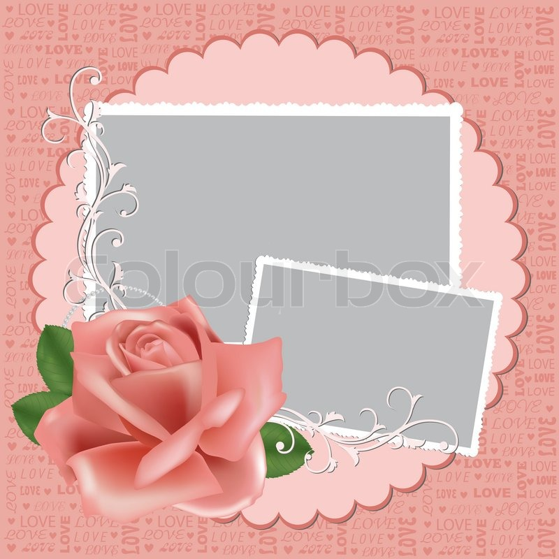 Blank wedding photo frame, postcard or greetings card   Stock Vector ...