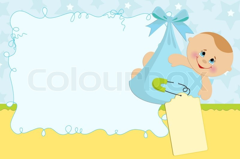 Blank Template For Baby S Greetings Card Or Photo Frame In