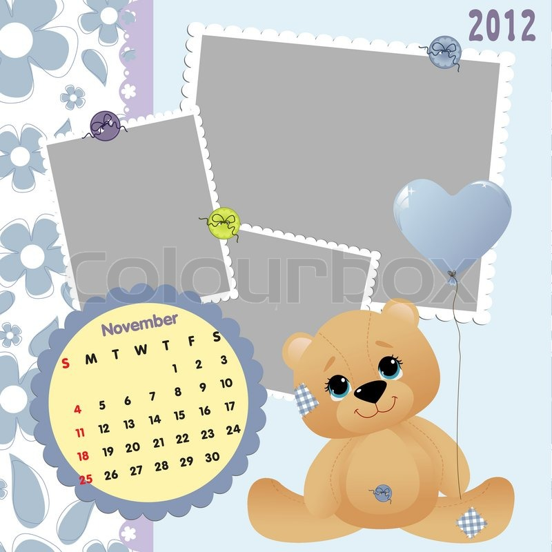 Baby\'s monthly calendar for november 2012 with photo frames | Stock ...