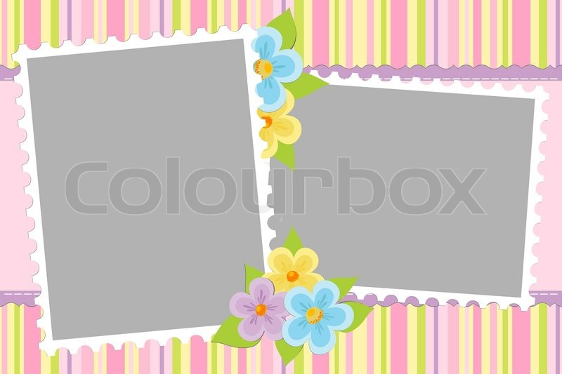 Blank Template For Babys Greetings Card Or Photo Frame In Pink