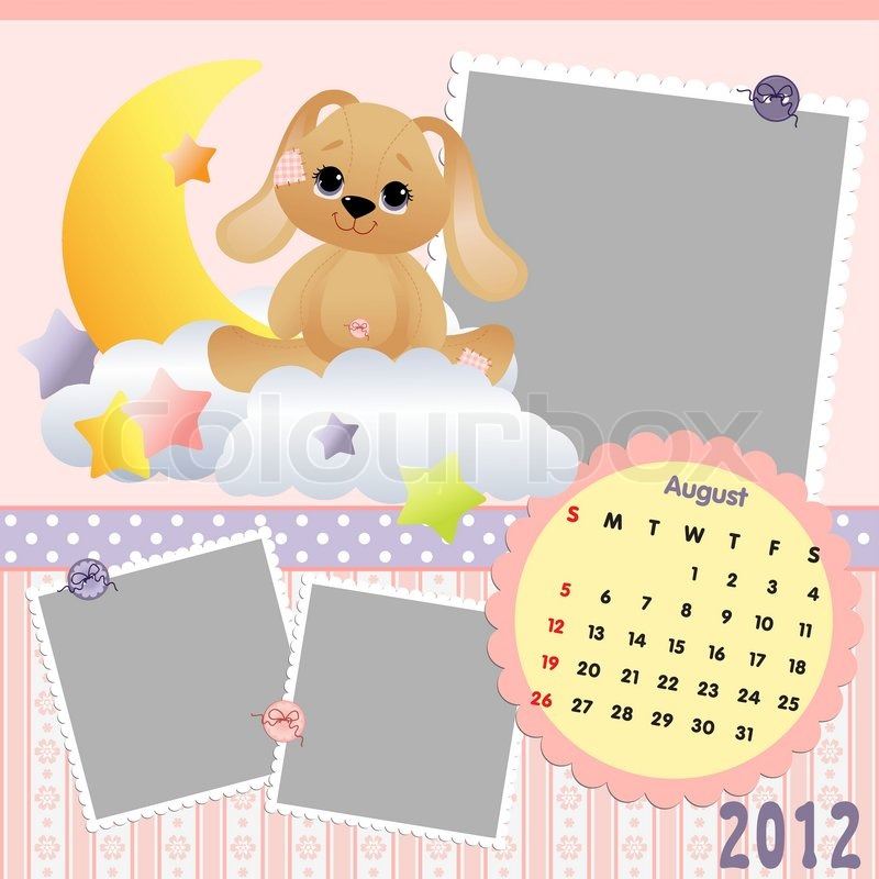 Baby\'s monthly calendar for august 2012 with photo frames | Stock ...