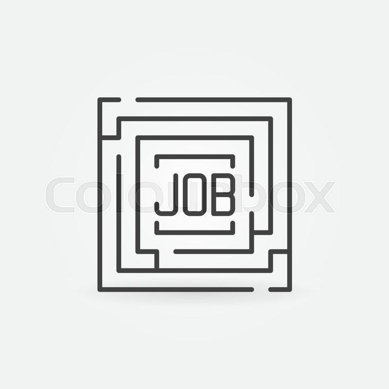Job Maze Icon Vector Minimal Square Labyrinth With Word Job Inside