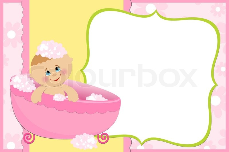 Blank template for baby s greetings card or photo frame in pink colors stock vector colourbox