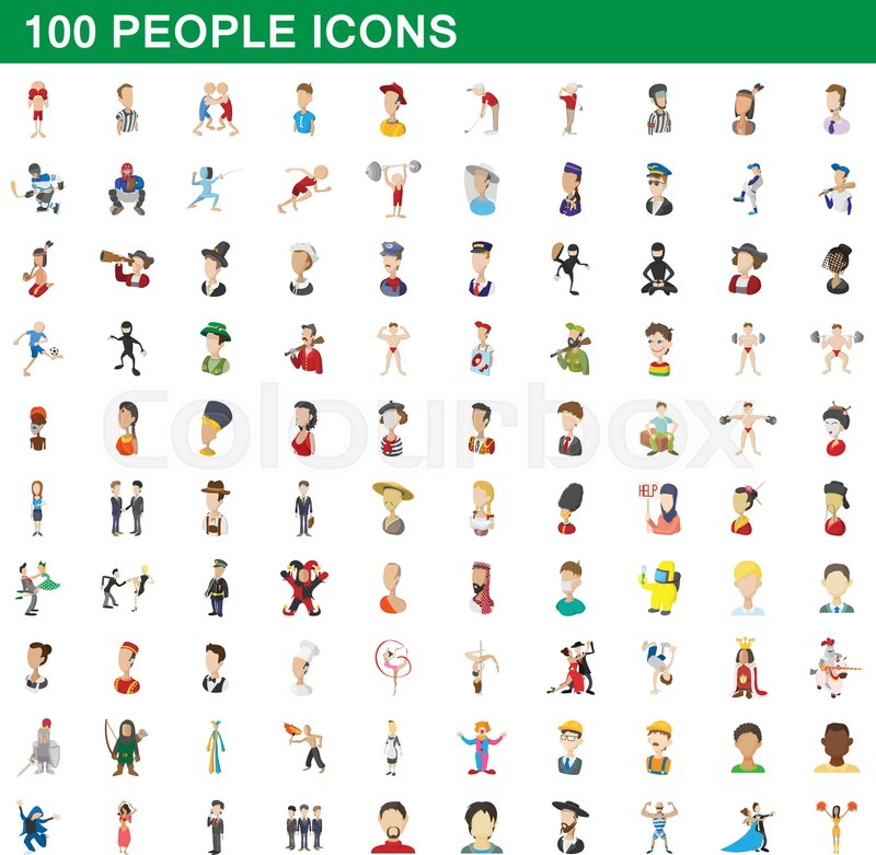 100 people icons set in cartoon style for any design vector illustration, vector