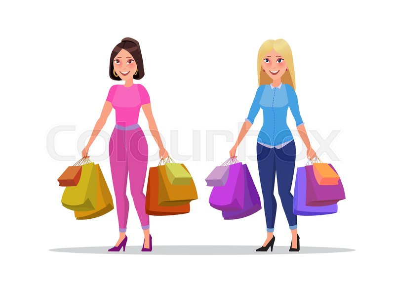 3825c0134ce Happy shopping girls or brunette and ... | Stock vector | Colourbox