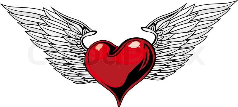 retro red heart with wings f r tattoo design vektorgrafik colourbox. Black Bedroom Furniture Sets. Home Design Ideas
