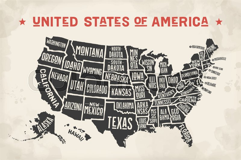 Poster map of United States of America ... | Stock vector ...