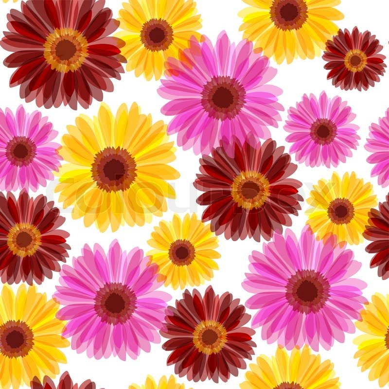 Bright daisy flowers seamless red yellow and pink stock vector bright daisy flowers seamless red yellow and pink vector mightylinksfo