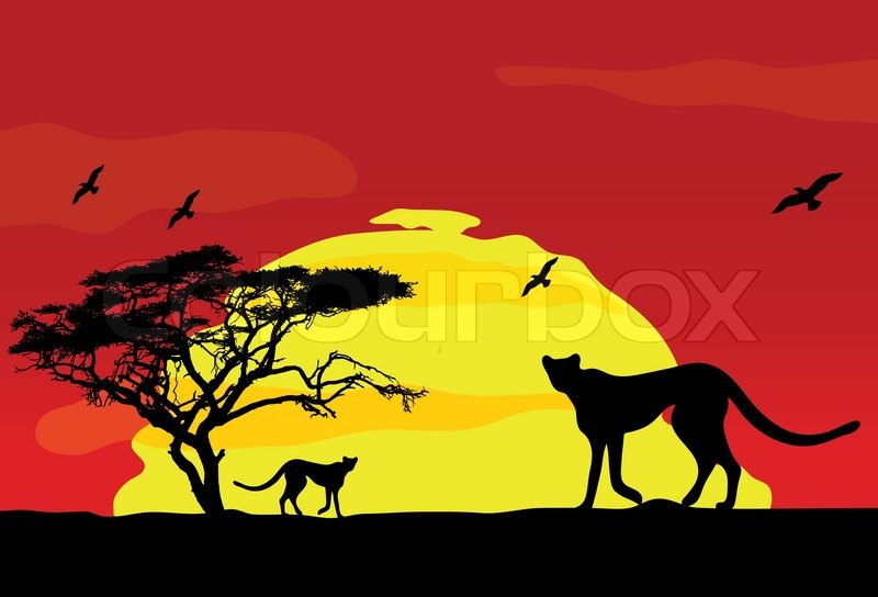 Wild african animals at sunset, vector | Stock Vector ...