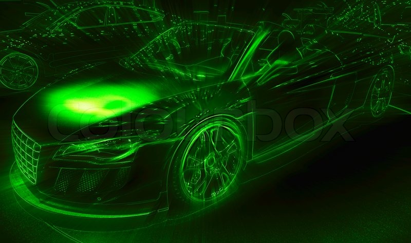 Neon light drawing of the sport car | Stock Photo | Colourbox