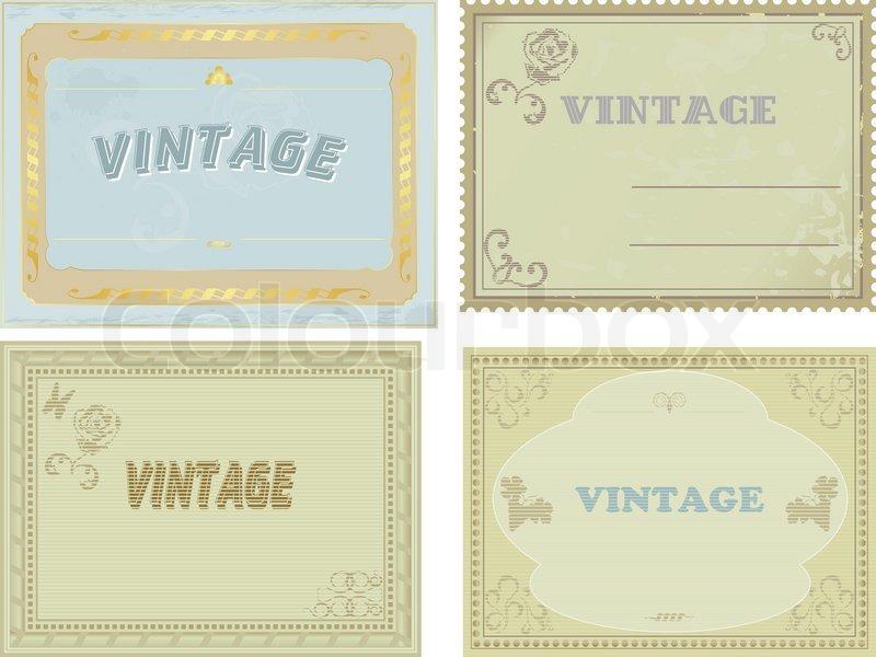 sammlung von vintage etiketten vektorgrafik colourbox. Black Bedroom Furniture Sets. Home Design Ideas