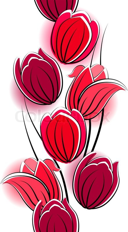 seamless vertical border with red tulips on white stock