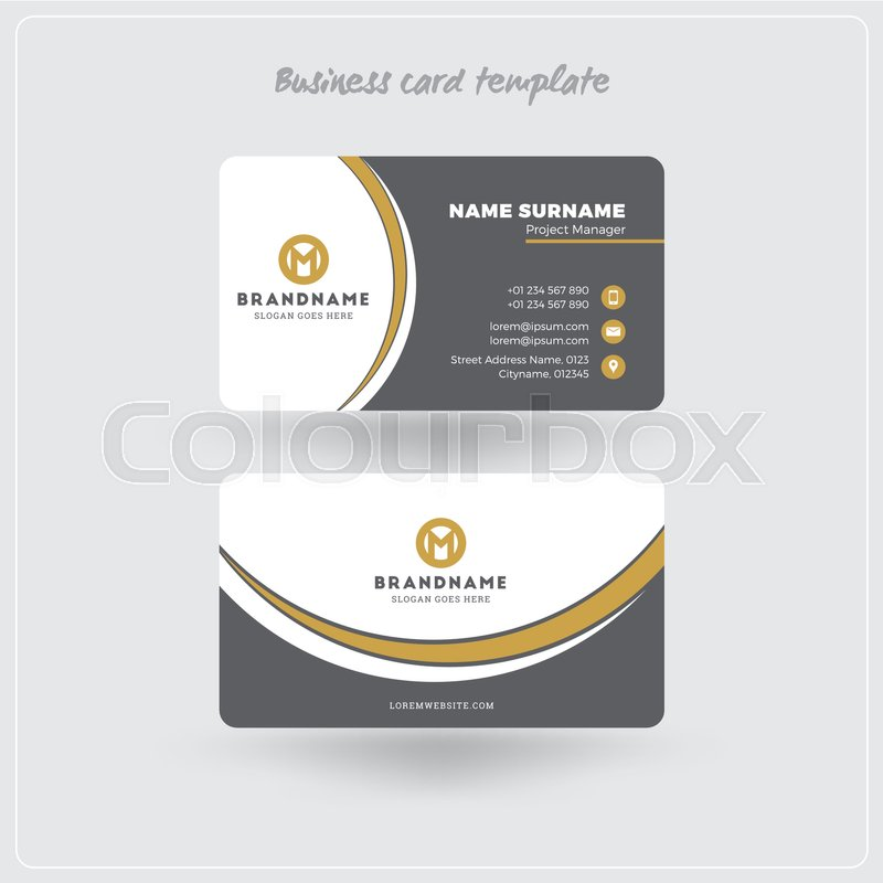 Golden and gray business card print template personal visiting card personal visiting card with company logo clean flat design rounded corners vector illustration business card mockup with shadows vector reheart Images