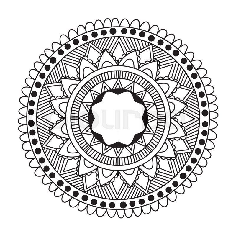 Zentangle Mandala For Coloring Book And Adults Made By Trace From Personal Hand Drawn Sketch Flower