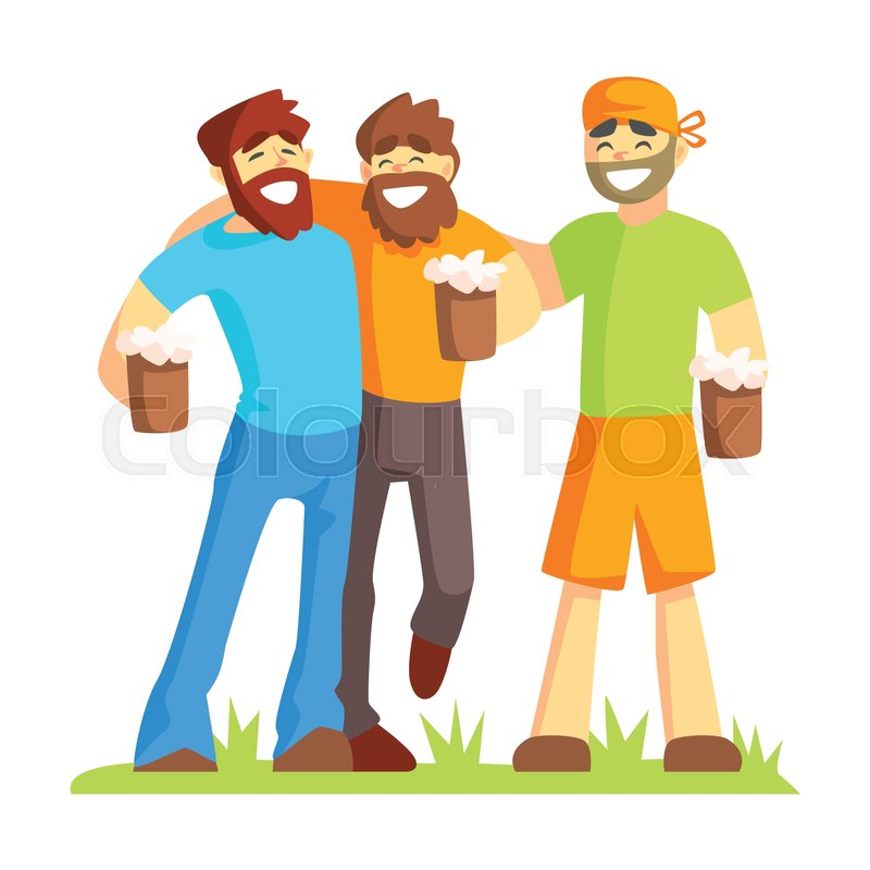 Three Friends With Bushy Beards Drinking Beer Outdoors, Part Of Male