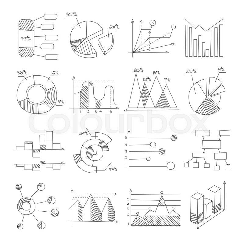 Data Graphic Representation Charts Of Different Types Hand Drawn