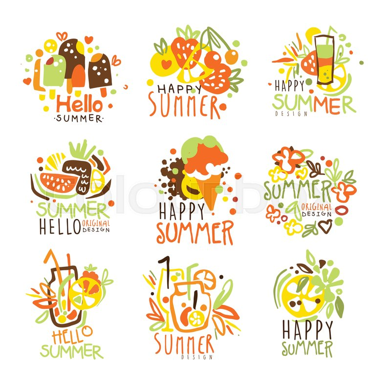 Happy Summer Vacation Sunny Colorful Graphic Design Template Logo Series Hand Drawn Vector Stencils Artistic Promo Posters With Funky Font And Fun