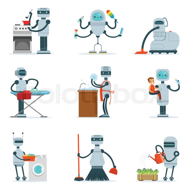 Housekeeping Household Robot Doing Home Cleanup And Other