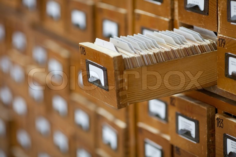 Database Concept. Vintage Cabinet. Library Card Or File Catalog, Stock Photo