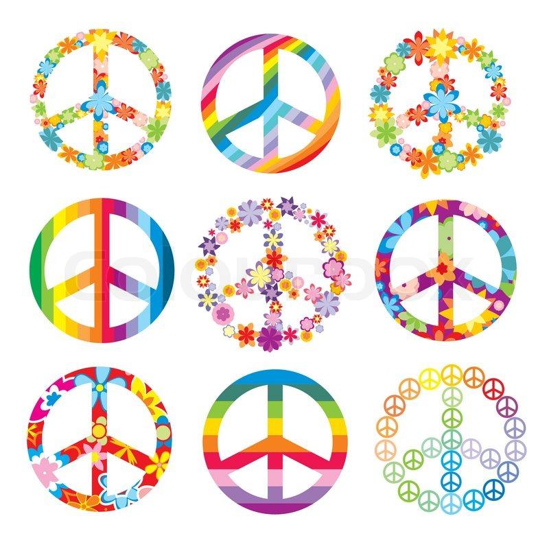 Set Of Cute Peace Symbols Stock Vector Colourbox