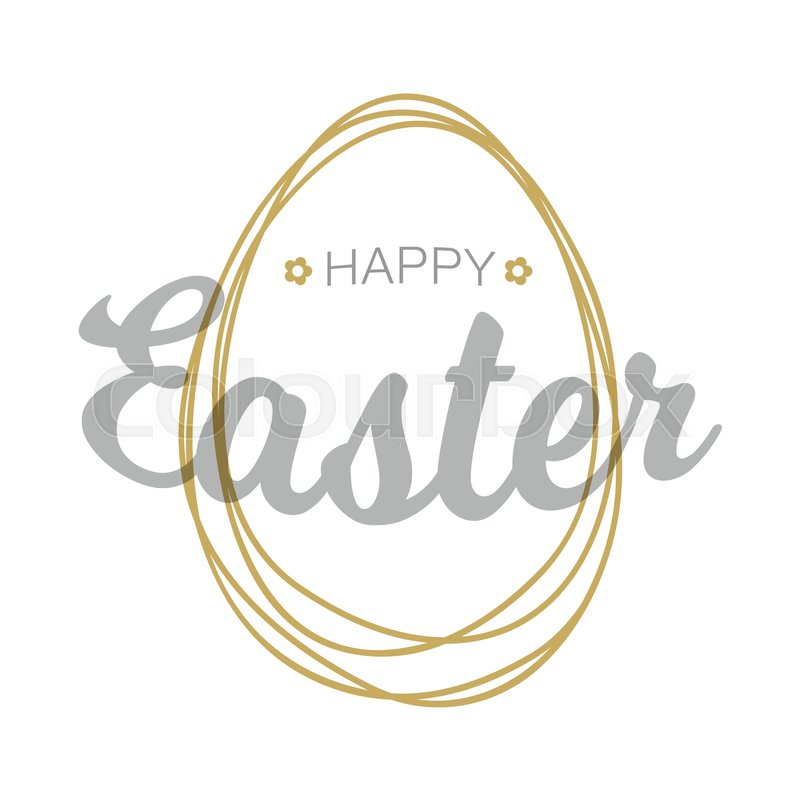 Vector Happy Easter silver gray typographic calligraphic lettering with gold scribble egg frame isolated on white background. Retro holiday easter badge. Religious holiday sign, vector