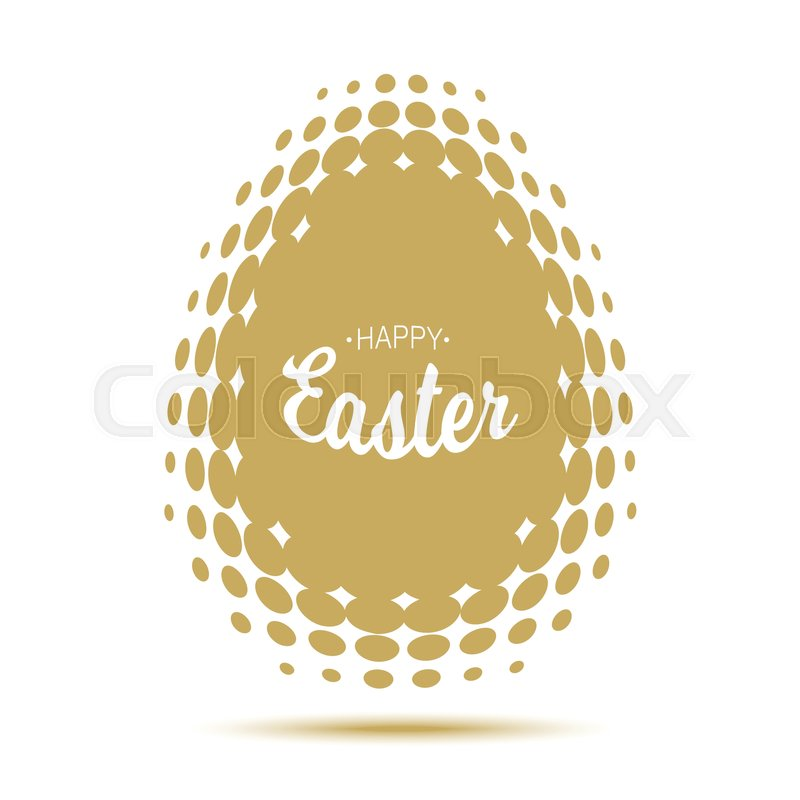Vector Happy Easter typographic calligraphic lettering with gold halftone egg frame isolated on white background. Retro holiday easter badge. Religious holiday sign, vector