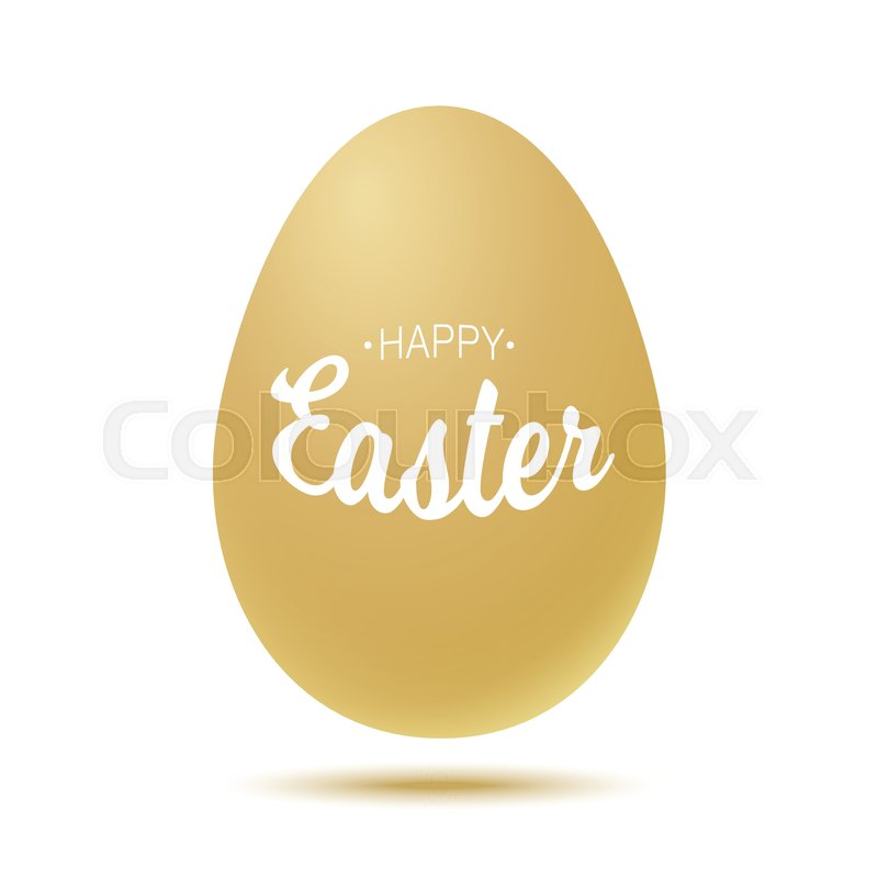 Vector Happy Easter typographic calligraphic lettering with gold realistic egg frame isolated on white background. Retro holiday easter badge. Religious holiday sign, vector