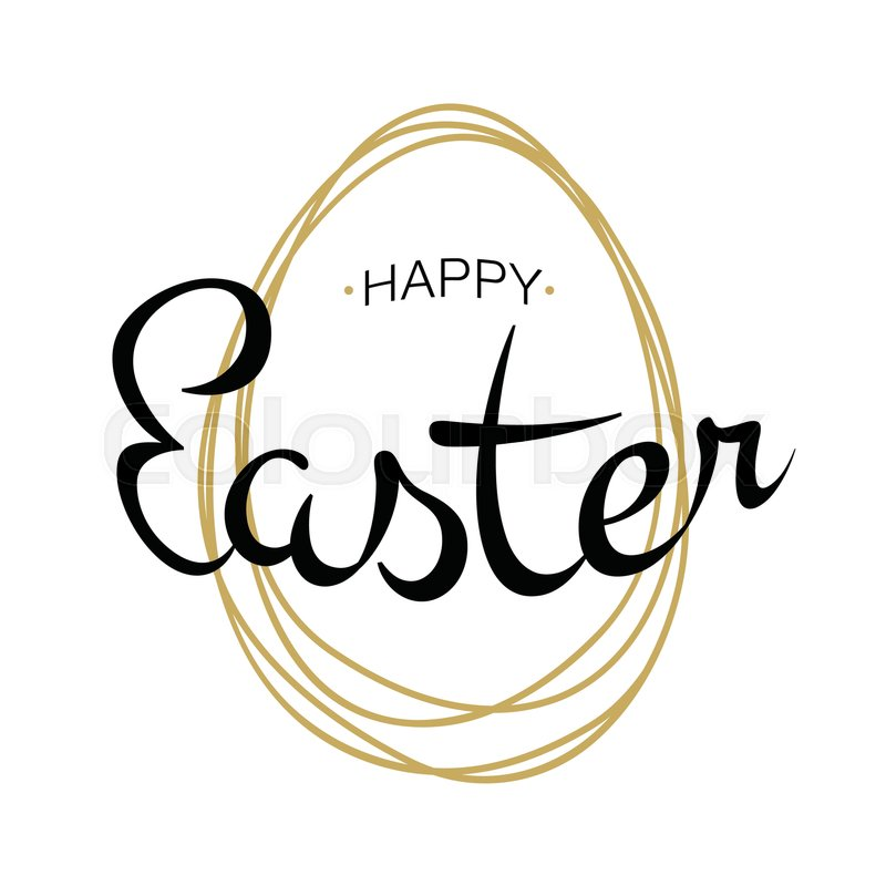 Vector Happy Easter black typographic calligraphic lettering with gold scribble egg frame isolated on white background. Retro holiday easter badge. Religious holiday sign, vector