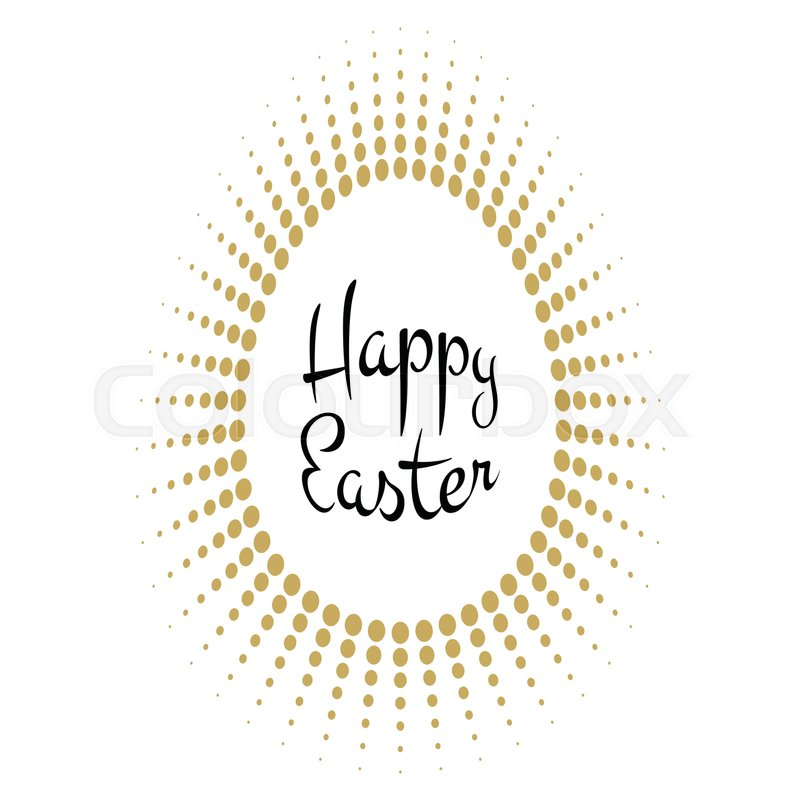 Vector Happy Easter black typographic calligraphic lettering with gold halftone egg as rays frame isolated on white background. Retro holiday easter badge. Religious holiday sign, vector