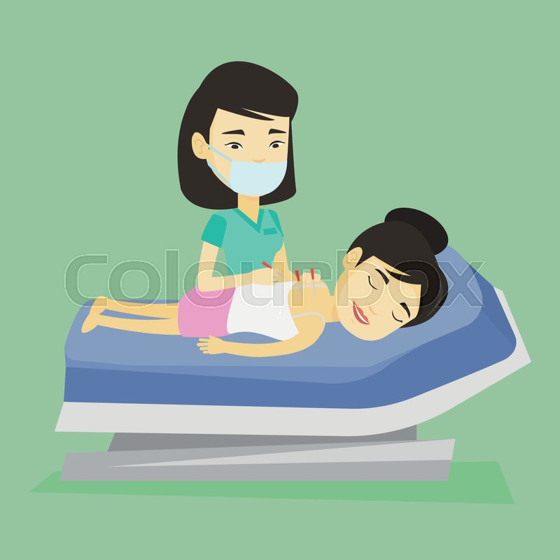 Young asian woman getting acupuncture treatment in a spa center. Acupuncturist doctor performing acupuncture therapy on back of a customer in salon. Vector flat design illustration. Square layout, vector