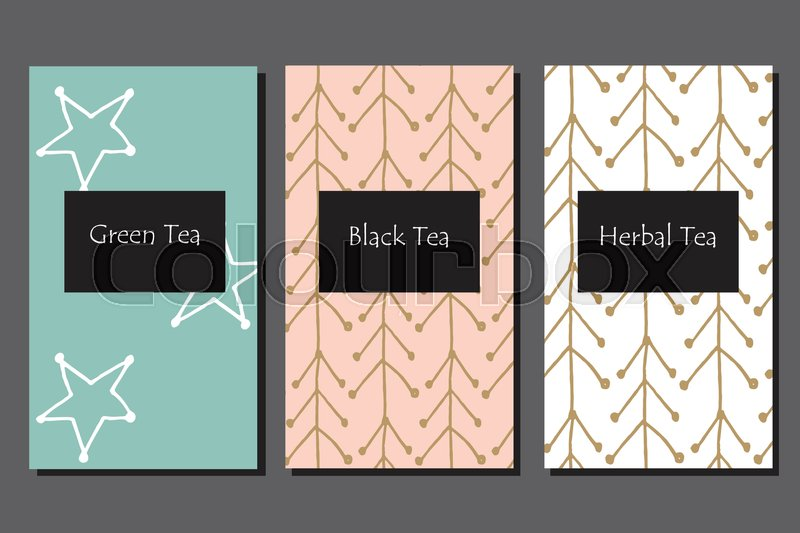 Hand Drawn Scandinavian Style Pattern For Tea Package Cards Invitations And Coloring Book Vector