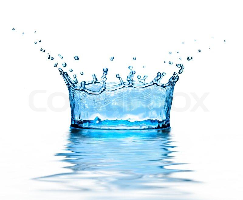 High Splash Of Blue Water On White Background Stock