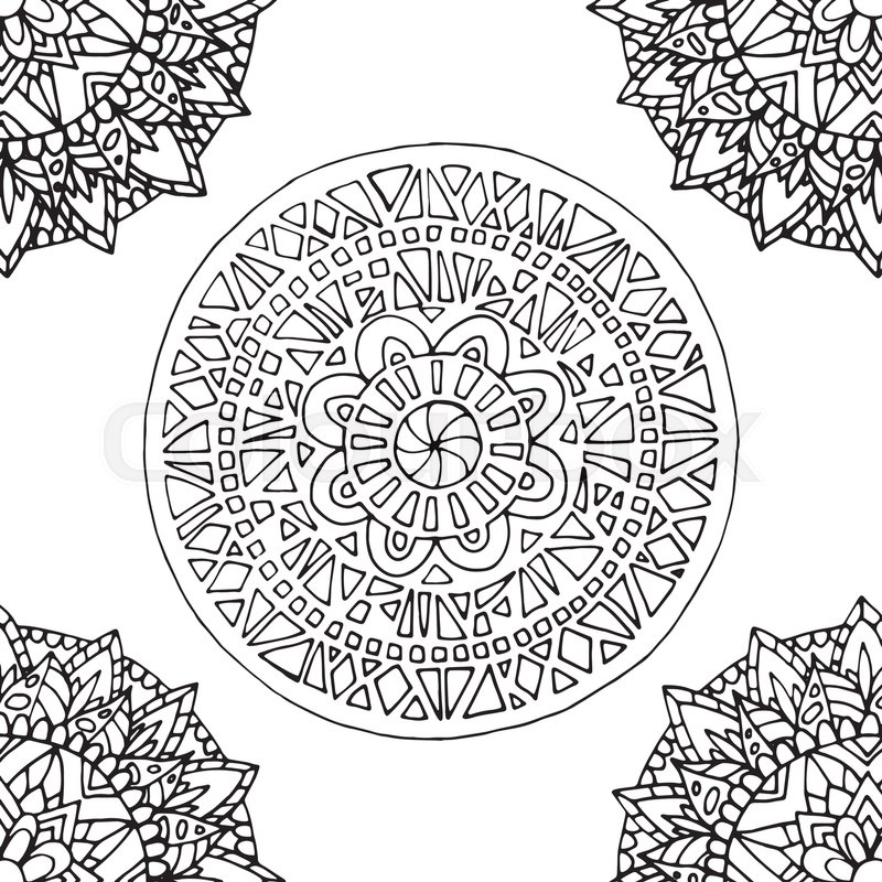 Tile with mandala pattern for coloring book and adults. Made by ...