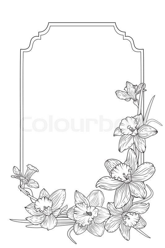 spring floral border frame template with decorated corner daffodils