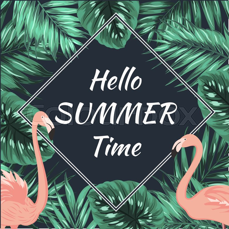 Hello summer time promo sale square banner frame with ...