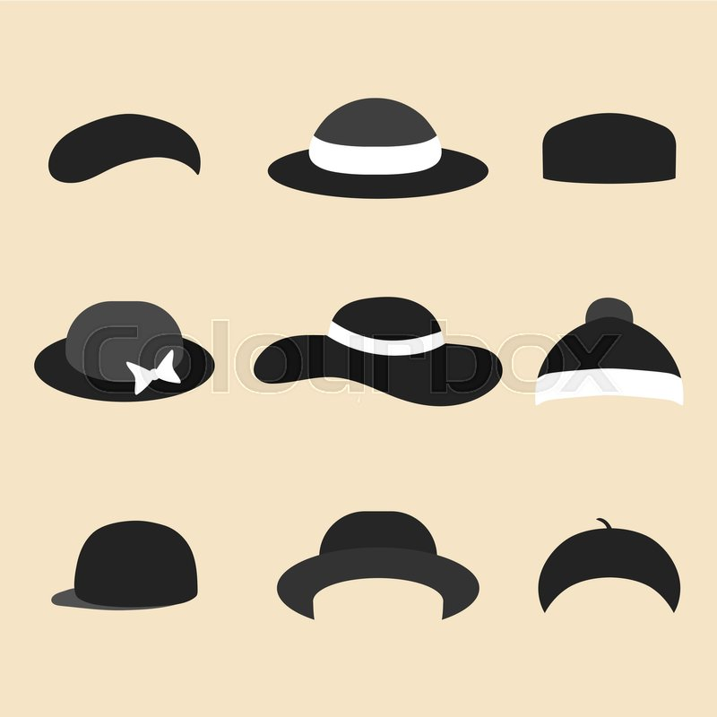c5539cb978856 Vector set of different hat icons in ... | Stock vector | Colourbox