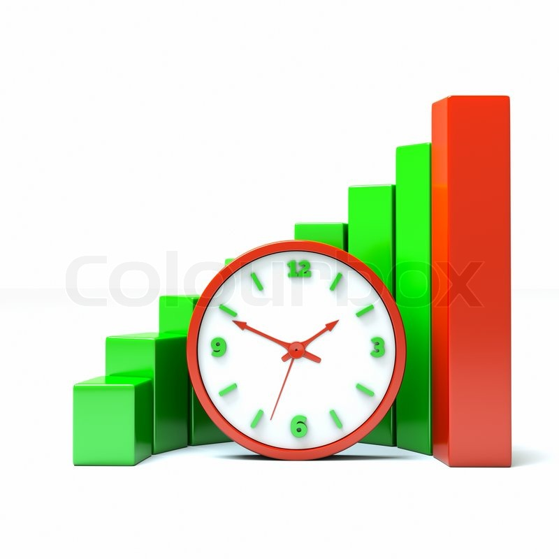 Stock image of 'A diagram with clock a business concept'