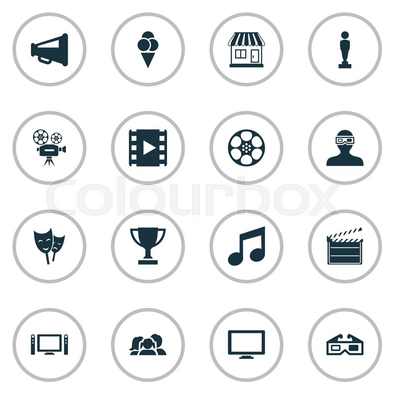 Vector Illustration Set Of Simple Movie Icons Elements Music Note