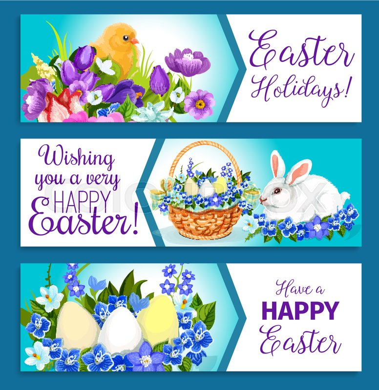 Easter holiday paschal hunt eggs bunny and chicks in wicker basket easter holiday paschal hunt eggs bunny and chicks in wicker basket happy easter banners design of spring flowers crocuses daffodils and tulips or willows m4hsunfo