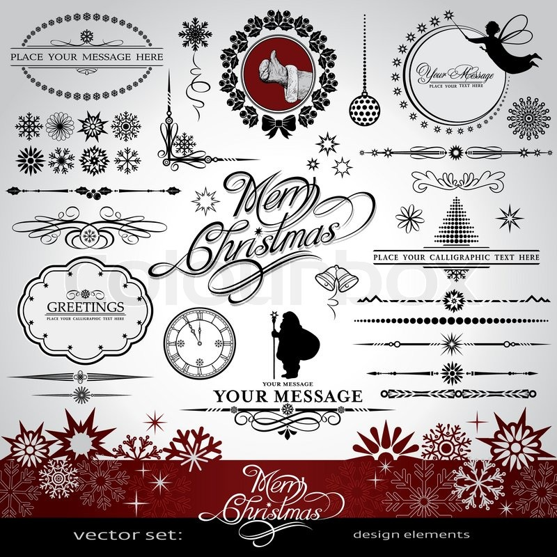christmas and new year decorative vector set with