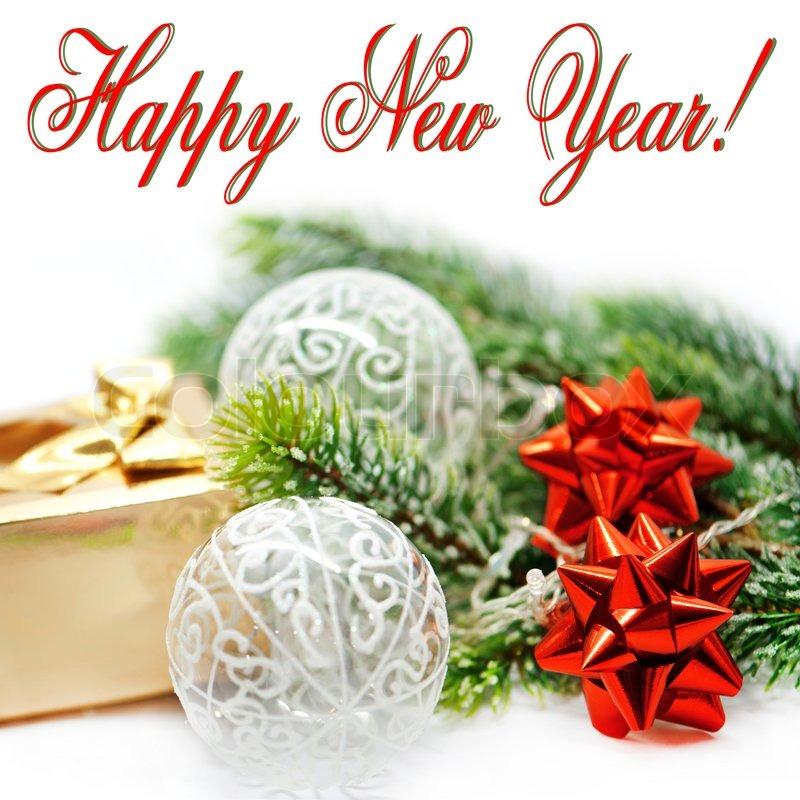 happy new year tree red ribbon golden gift balls stock photo