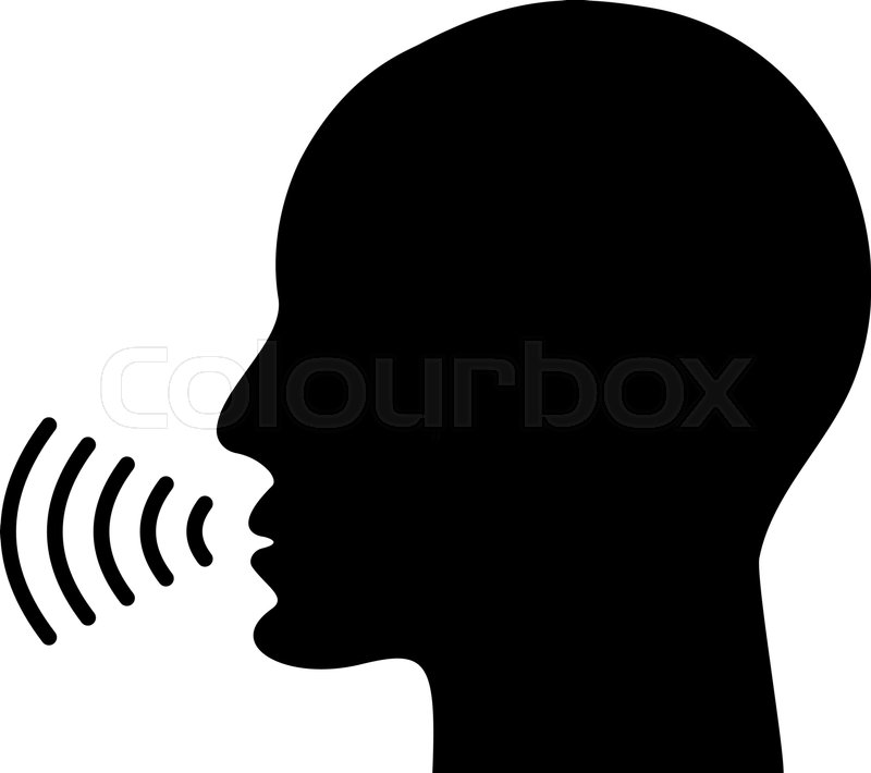 Voice command control with sound waves icon. Black man ...