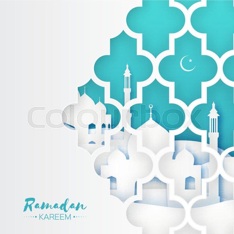 Blue Mosque Window Origami Ramadan Kareem Greeting Card With Arabic
