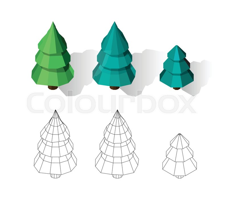 Isometric vector tree set. Landscape constructor kit. Different ...
