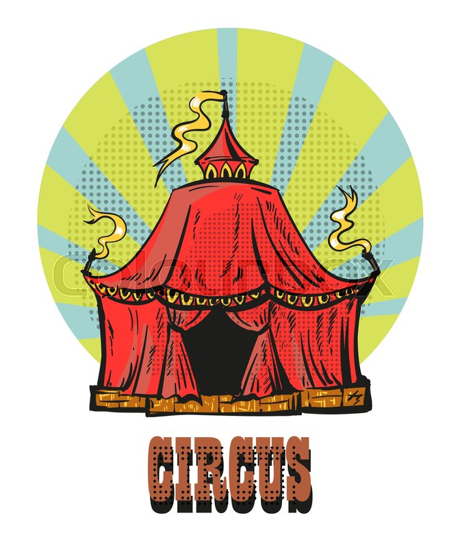Magic red circus frame. A circus frame with a big top and a large ...