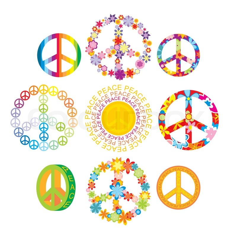 Set Of Colorful Peace Symbols Vector Illustration Stock Vector