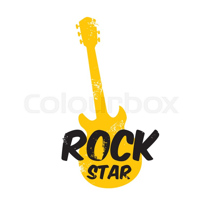 Vector Hipster Cartoon Retro Label Rock Star Rock N Roll Music Icon