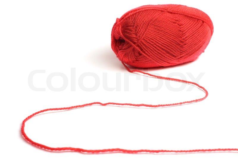 wolle ein faden zum stricken roten farben auf wei em stock foto. Black Bedroom Furniture Sets. Home Design Ideas